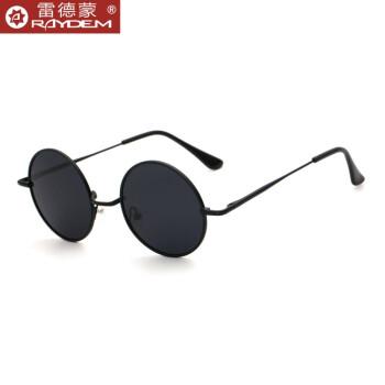 雷徳蒙の新型の韓国版の偏光サングラスの男女の円形のメガネの太子の鏡の復古のサングラスの男性のクールで多彩な反射のサングラスの個性の丸い枠のサングラスの黒い枠の暗い灰色の偏光板