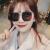 サングリスの女性2019新型GMサングリスの女性ins韩国版ファンシーネットの赤い复古的な大きな颜のメガネの偏光の丸顔の新し街は金の枠の暗さを切り取ったものです。