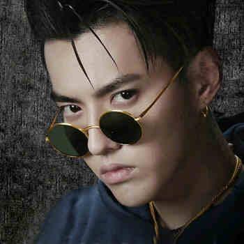 2020新型の円形の復古式の中国はヒップホップサングラスの男性ネットの紅呉があります。同じくシリズのメガネのサングラスの女性1317 WGSの金の枠の濃い緑の映画です。