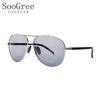 SooGreeサングラス男性高清サングラス車で釣りをしています。メガネを運転しています。軽くて近視の日よけ鏡ファッションネットの紅新潮G 20911銀枠の灰片を配合できます。